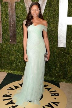 Best: Naomie Harris looked sleek in a mint green off-the-shoulder gown at the 2013 Vanity Fair Oscar party.