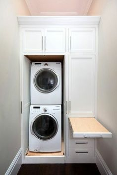 There are so many exciting small laundry room design ideas that you can apply for your small laundry room. Having a laundry room in your house is definitely a must. It ensures that you have fresh and clean clothes at… Continue Reading → Laundry Room Layouts, Laundry Room Remodel, Laundry Room Cabinets, Small Laundry Rooms, Laundry Closet, Laundry Room Organization, Laundry Room Design, Basement Laundry, Laundry Drying