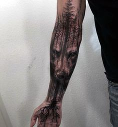 Wolf Tree Roots Mens Masculine Forearm Sleeve Tattoo