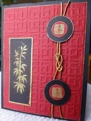 embossing folder texture like a wooden screen texture . gold embossed bamboo and script . gold gilt edges on black pieces . Scrapbooking, Scrapbook Cards, Asian Crafts, Chinese New Year Card, Embossed Cards, Card Tags, Paper Cards, Creative Cards, Greeting Cards Handmade