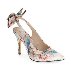 Women's Menbur 'Cara' Pump ($88) ❤ liked on Polyvore featuring shoes, pumps, heels, nude floral fabric, floral shoes, floral pumps, pointy-toe pumps, flower print pumps and slingback pumps