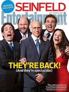 The 'Seinfeld' cast reunited on the cover of Entertainment Weekly before they're all on screen together again in 'Curb Your Enthusiasm. Jerry Seinfeld, Entertainment Weekly, Larry David, David Jason, Julia Louis Dreyfus, Top Gear, Best Tv Shows, Best Shows Ever, South Park