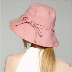 257cf6a80cf Plain pink packable bucket hat with bow for women UV protection sun hats