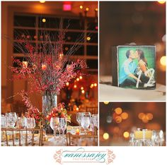 Centerpieces and table numbers... Candle light and kissing at Fall wedding
