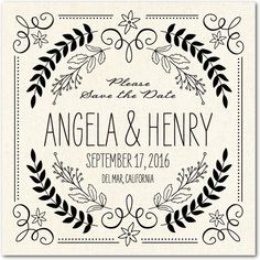 Rustic Wreaths - Save the Date Magnets - Sarah Hawkins Designs - Almond - Neutral : Front