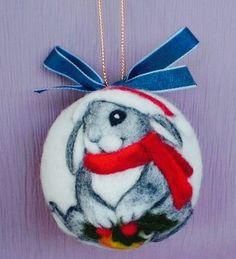 Needle felted Christmas bunny ornament