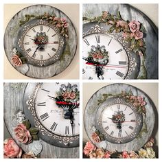 Clock Printable, Grandfather Clocks, Concrete Floors, Wall Clocks, Pretty Pictures, Cool Things To Make, Felting, Decoupage, Mixed Media