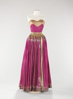 Neat idea for how to make a dress from a sari: Evening Dress  Mainbocher, 1950  The Metropolitan Museum of Art