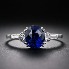2.00 Carat Art Deco Sapphire and Diamond Ring in Platinum - 30-1-5161 - Lang Antiques