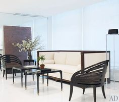 The reception area is outfitted with furniture from the collection he designed for Holly Hunt.