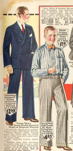 1926 (L) teen boys blue suit and (R) dress slacks with stripe shirt