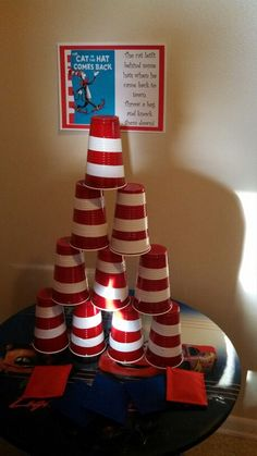 Dr. Seuss party game. I'm doing this for a baby shower game but with more cups and to add to the fun, blindfold them and have them toss a bean bag at the cups