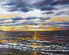 ARTFINDER: The Amber Sea by Hanna Kaciniel - The Amber Sea- oil on canvas board. Here is a painting of the amber and purple sunset above Ayr in Scotland. I wanted to share the atmosphere of that magica. Oil Painting On Canvas, Painting & Drawing, Original Art, Original Paintings, Purple Sunset, Canvas Board, Beautiful Paintings, Amber, Sculptures