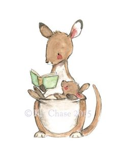 This little joey loves this part of the story! - art print from an original watercolor, gouache, and acrylic painting by Kit Chase. - archival matte paper and ink - vertical print - ships worldwide fr