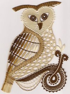 Owl, colored lace bobbin by evangeline Crochet Owls, Thread Crochet, Cute Crochet, Crochet Motif, Crochet Patterns, Bobbin Lacemaking, Lace Art, Bobbin Lace Patterns, Lace Necklace