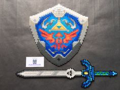 Legend of Zelda Link Perler Bead Master Sword & Shield Set by SDKD, $75.00
