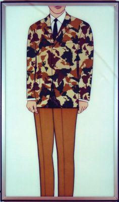 America. Camouflage, acrylic on canvas designed and produced by Malús Arbide. 1992. Expositor con chaqueta de camuflaje pintada con mapas del continente americano.