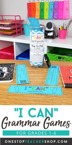I CAN Grammar Games are engaging, rigorous, and fun! These grammar practice activities cover all grammar standards and word study! Perfect for Grammar Review, Literacy Centers, or Guided Reading Activities! Helps teachers with progress monitoring. Now Available for 1st, 2nd, 3rd, 4th, 5th, and 6th grade. Grammar Games, Grammar Practice, Grammar Skills, Teaching Grammar, Guided Reading Activities, Writing Activities, Games For Grade 1, Grammar Review, English Games