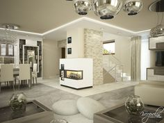 Gallery featuring images of the fabulous Krupina Project by Neopolis. A luxuriously airy house laden with touches of class and beauty. Interior Design Living Room, Modern Interior, Flat Tv, Layout, Entertainment Stand, Marble Floor, Luxury Living, Dining Room Table, House Design