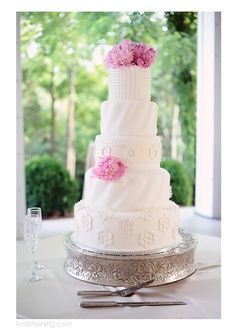 Kristin Vining Photography, wedding, wedding day, Kristin Vining, wedding cake, 5 tier cake, pink flowers, reception