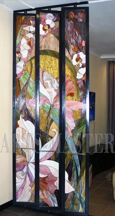 "Persianas de cristal manchadas ""Orquídeas"" stained glass partition wall"