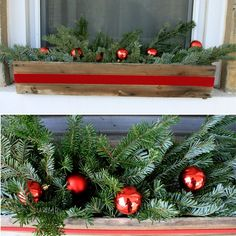 Beautiful window box idea and then after Christmas you could replace the bulbs with pine cones for a winter window box...just might have to give this a go :-)