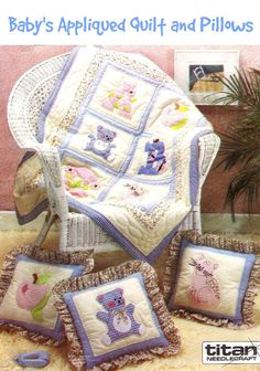 UNCUT Baby's Appliqued Quilt and Pillows by KeepsakesStudio