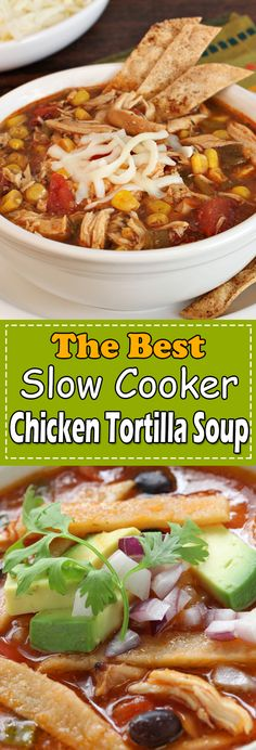 Chicken Tortilla Soup is little spicy loaded with black beans, chicken breasts, jalapenos and more. This Slow-Cooker Chicken Tortilla Soup is topped with cheese, avocado, cilantro and a bit of lime juice. Chicken Main Course Recipes, Easy Chicken Thigh Recipes, Chicken Breast Recipes Healthy, Healthy Chicken Recipes, Healthy Soup, Authentic Chicken Tortilla Soup, Healthy Chicken Dinner, Thanksgiving Recipes, Christmas Recipes
