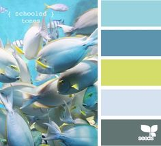We love these colors! We would do different shades of grey though!