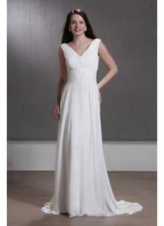 Charming A-line V-Neck Chiffon Sweep Train Beach Wedding Dress