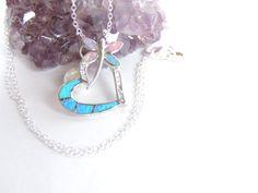 Opal Dragonfly / Heart Necklace Opal Heart by AlwaysCrafty77