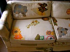 The Funky Couch Project from Love Made Visible -- using appliques to spruce up a BLAAHHHHHH couch.