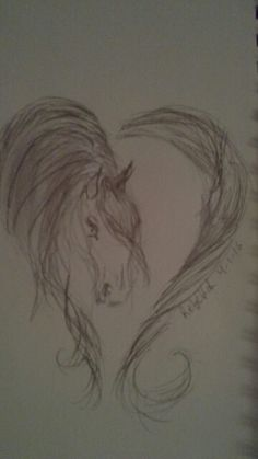 Horse pencil drawing heart - Rebekah H.  4-1-16