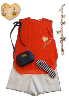 Rebecca Taylor Pieced Top in Red  Trina Turk Golden Cup Shorts in White  Michael Kors Crossbody bag in Navy  Yosi Samra Sandals in Red/White/Navy  Brighton Sea Star Bracelet and Earrings