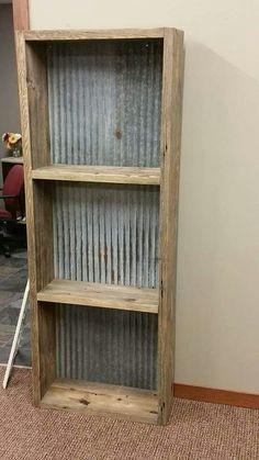 DIY Rustic Furniture Designs Shelf with tin backing Shelf with tin backing Tips For Improving The Ai Pallet Furniture, Furniture Projects, Rustic Furniture, Home Projects, Repurposed Furniture, Barn Wood Projects, Rustic Decor, Farmhouse Decor, Barn Tin