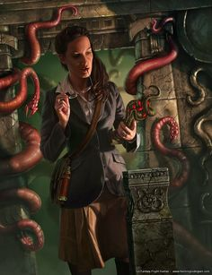 Field Researcher, Call of Cthulhu, Innsmouth Horror, Arkham Horror board game expansion, por Henning.