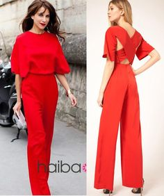 2013 Red/Black fashion batwing short sleeve backless cross summer lady overalls romper wide legs pants trousers women jumpsuit US $23.99