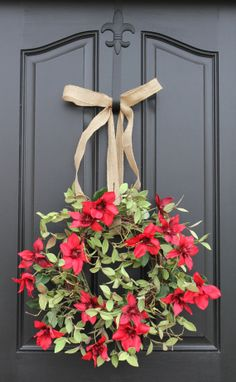 Red Clematis  Mother's Day Wreath  Spring/Summer by twoinspireyou, $70.00