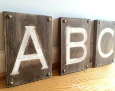 3 CUSTOM WOOD LETTERS- Large Rustic Letters- Distressed Custom Letters Wooden