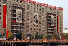 East Berlin. 1974. Parade of Volksarmee on Karl Marx Allee for May 1st celebrations.