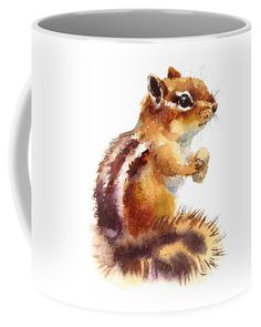 Watercolor Coffee Mug featuring the painting Chipmunk by Maria Stezhko