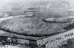 Boston crowd gathering at Huntington Avenue Grounds for Game 3 of the first ever World Series, 1903
