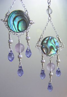Alluring Abalone, Amethyst and Swarovski Earrings