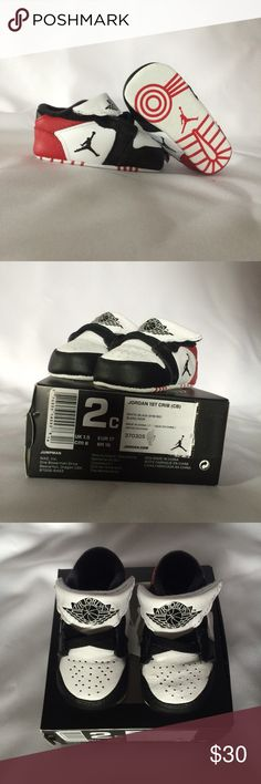 Nike Air Jordan Infant 1st Crib Shoes Brand NEW in box Air Jordan baby boy girl shoes. These shoes are size 2c. White, black, and gym red color. Velcro shoes. Nike Shoes Baby & Walker