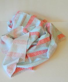 Swaddle Blanket, Baby Girl Blanket, 36 x 40, Gray, Coral, Aqua, Greek Key, Swaddle Baby Blanket, Flannel Baby Blanket, Baby Girl Item, RTS