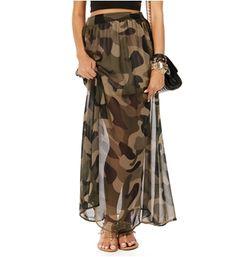 Camo Chiffon Maxi Skirt