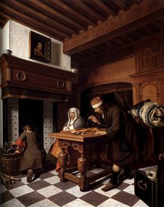 Cornelis de Man - A Man Weighing Gold, c. 1670, Oil on canvas, 82 x 68 cm, Private collection