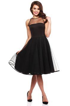 Czarna Wieczorowa Sukienka z Prześwitującym Modnie Karczkiem