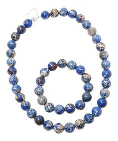 Loving this Blue Variscite & Sterling Silver Beaded Necklace & Bracelet set on #zulily! #zulilyfinds