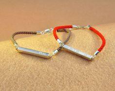 Sterling 3D Bar Engraved Bracelet Custom Name by weimeiOrnaments